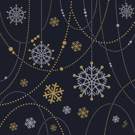 Duni Snowflake necklace black 40x40cm, 50ks/ba