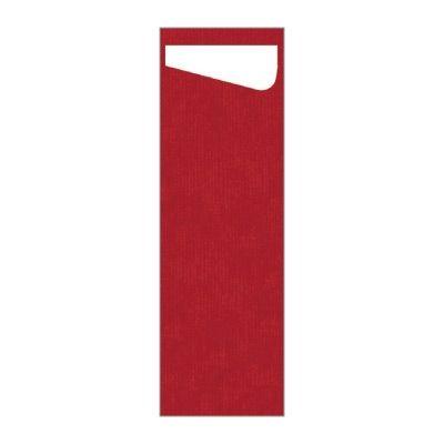 Dunisacchetto červená s bielou servítkou Slim 7 x 23 cm, 60 ks / ba