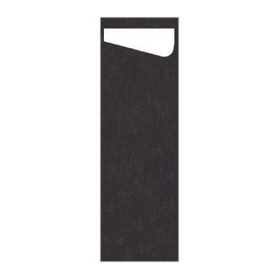 Dunisacchetto čierna s bielou servítkou Slim 7 x 23 cm, 60 ks / ba