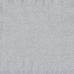 Duni Jednofarebné servítky 33 x 33 cm strieborné , 3-vrstvové, 50 ks / ba